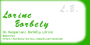 lorinc borbely business card